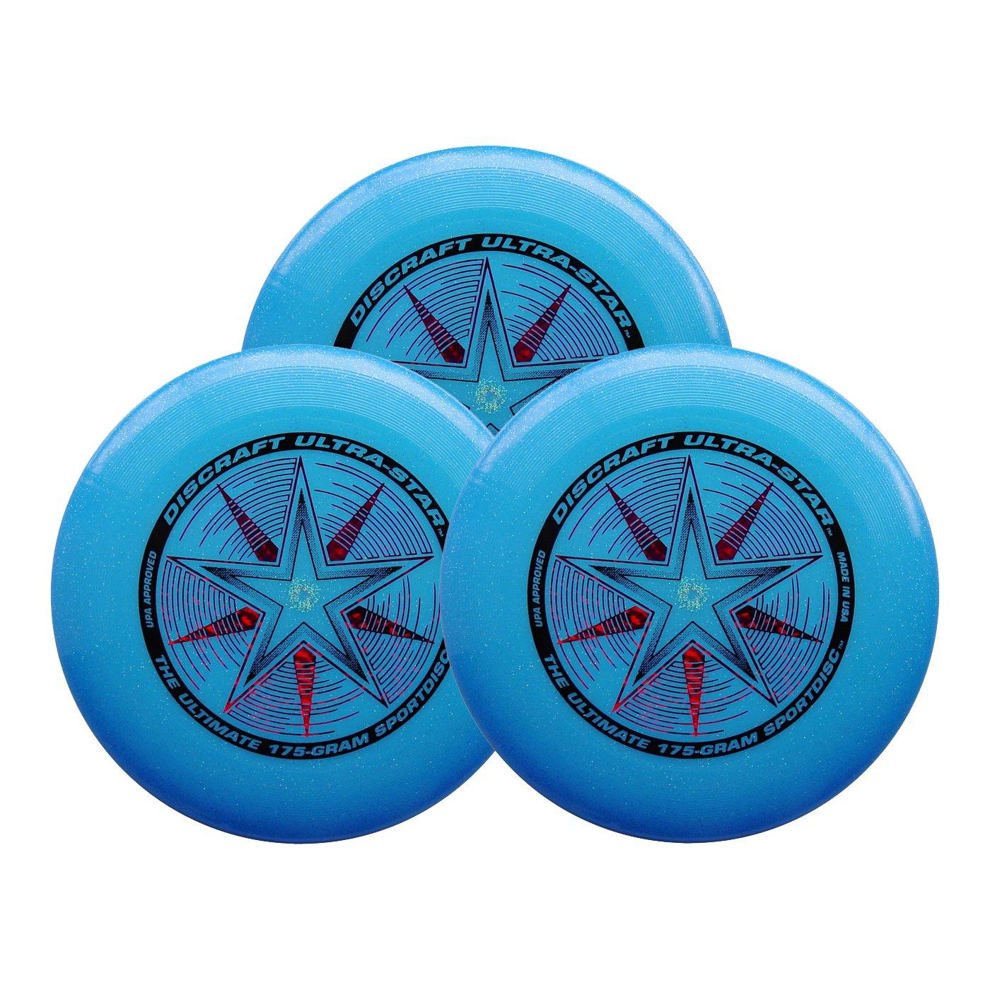 Discraft Ultra-Star 175g Ultimate Sportdisc Blue Sparkle (3 Pack) by Discraft
