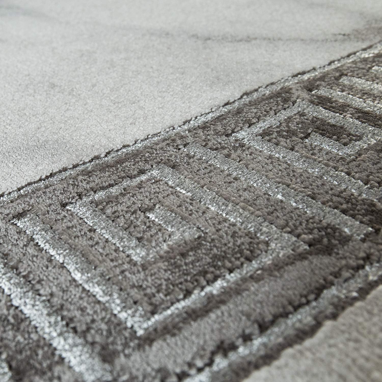 Paco Home Tappeto Soggiorno Grigio Argento Grigio Argento Antracite Border Marmo Pattern Morbido Pelo Corto Dimensione:80x150 cm