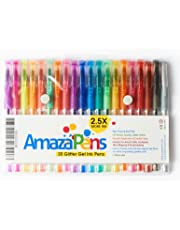Coloured Gel Pens by AmazaPens - 20 Pack Super Glitter 150% More Ink than Other Coloured Pen Sets | Best for Adding Sparkle to Your Adult Colouring Books and Art Projects.