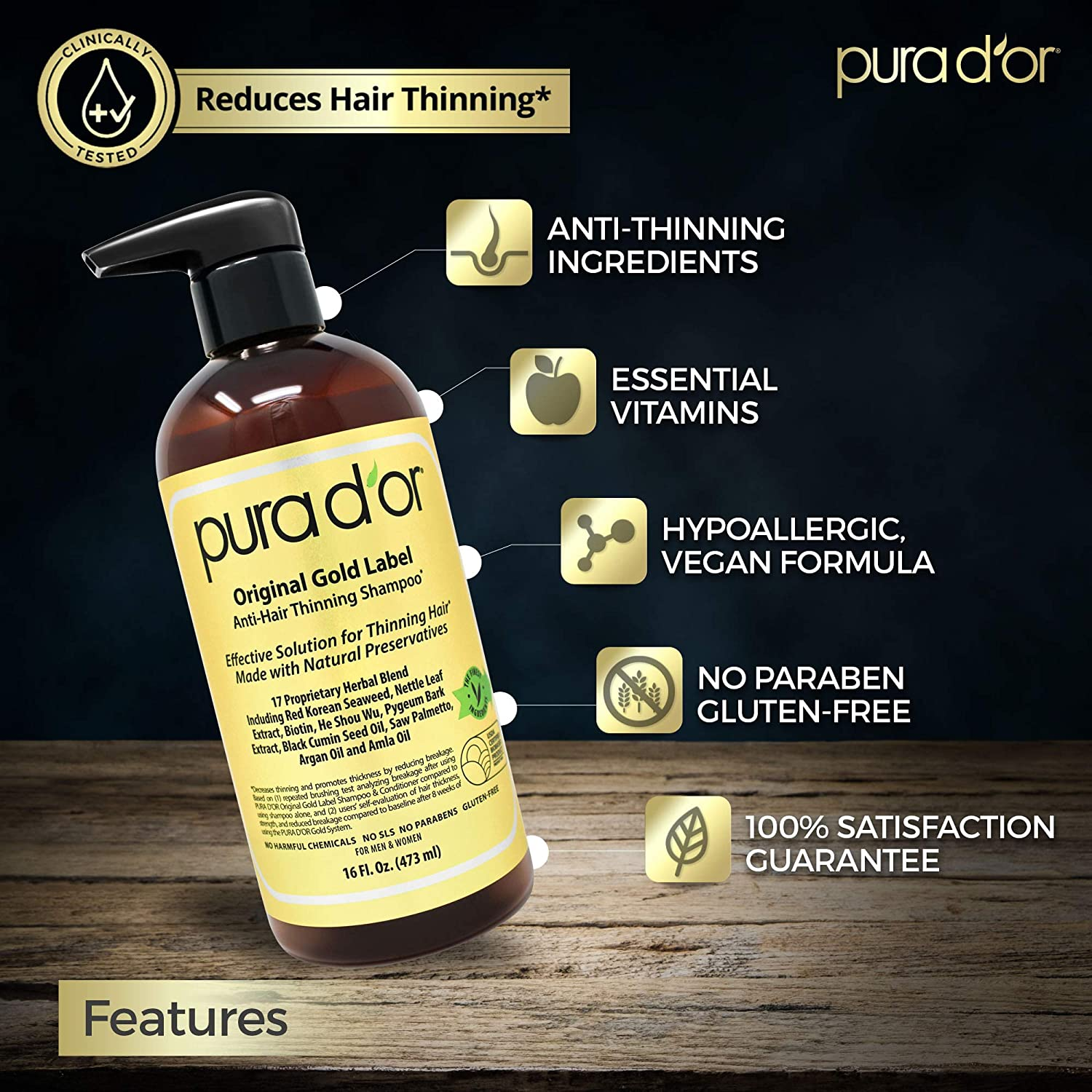 PURA D'OR Original Gold Label Anti-Thinning Shampoo 2
