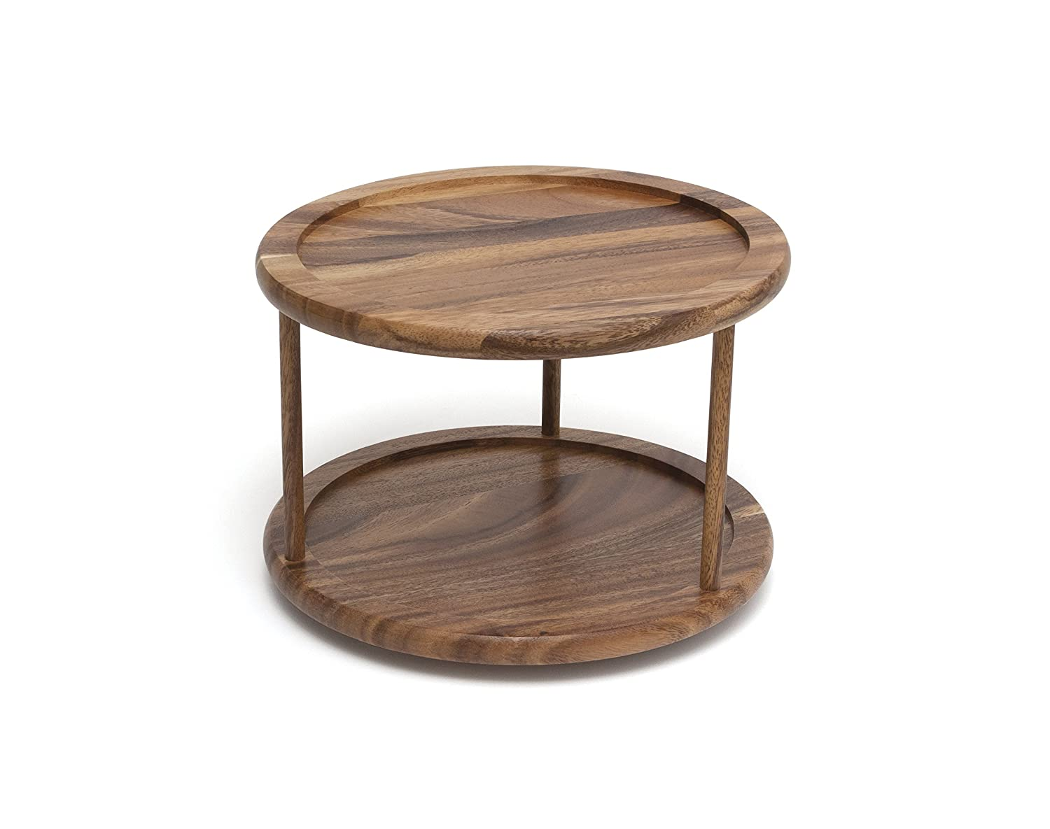 "Lipper International 1302 Acacia Wood 2-Tier 10"" Kitchen Turntable"
