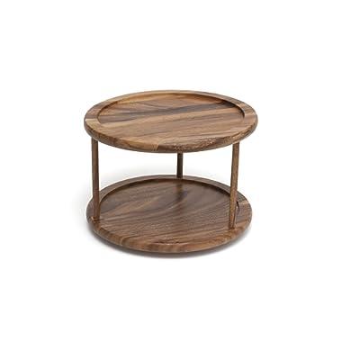 Lipper International 1302 Acacia Wood 2-Tier 10  Kitchen Turntable