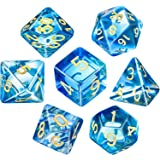Polyhedral 7-Die Dice Set for Dungeons and Dragons with Black Pouch (Transparent Blue)