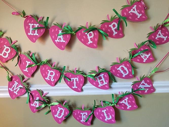 amazon com new inspired strawberry birthday banner w name handmade