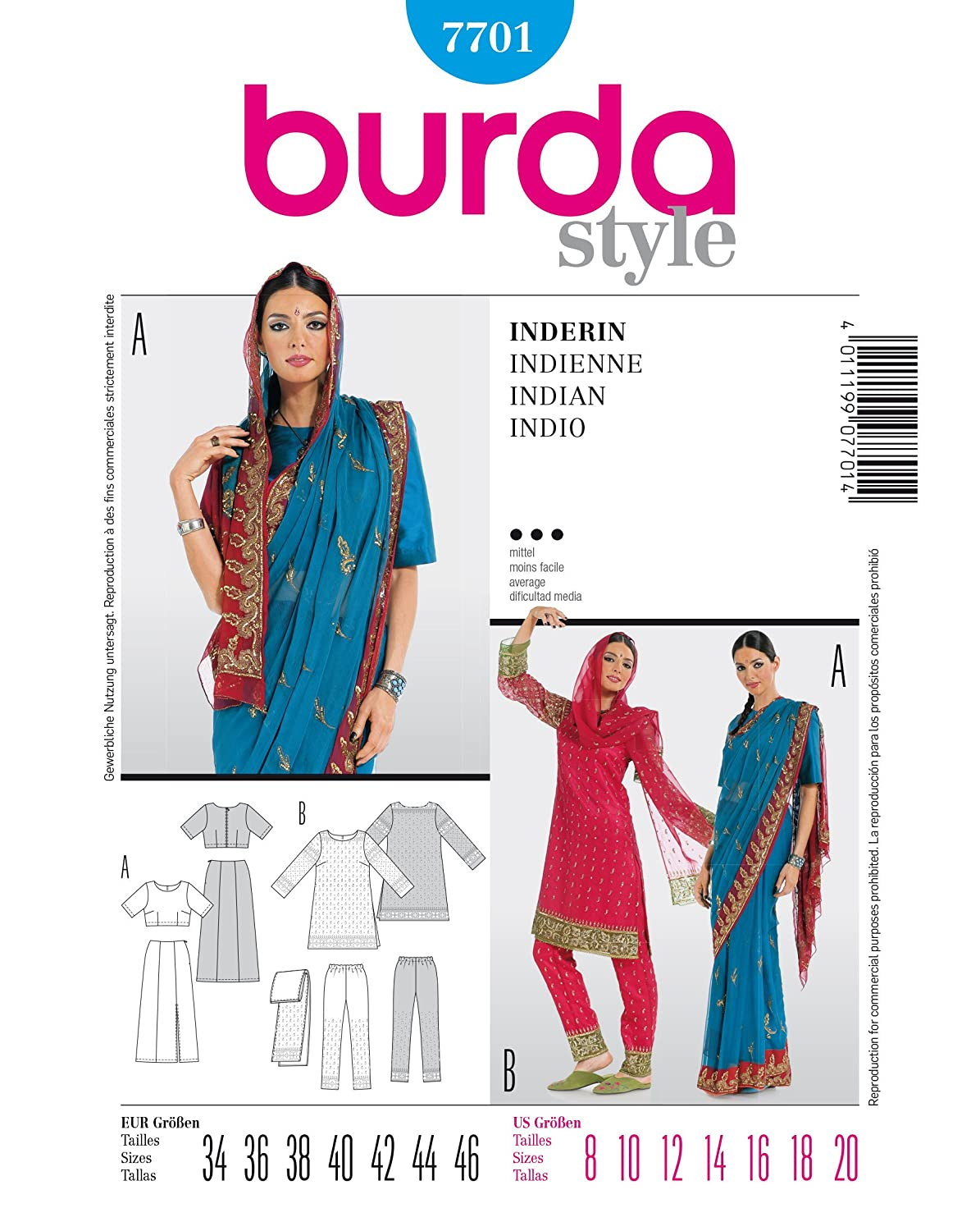 Burda B7701 Indian Sewing Pattern/Template 19 x 13cm: Amazon.co.uk ...