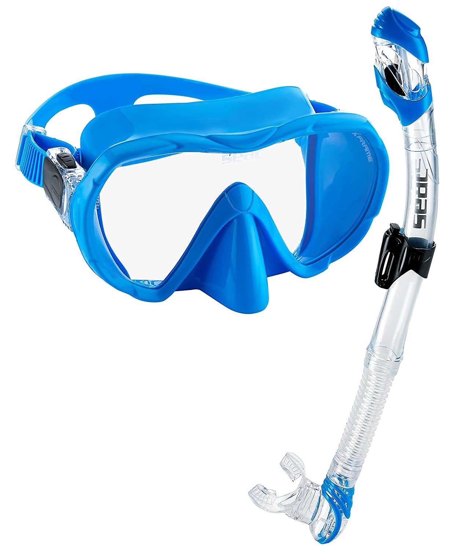 SEAC Frameless Scuba Snorkeling Freediving Mask Dry Snorkel Set Blue 6890029080000A