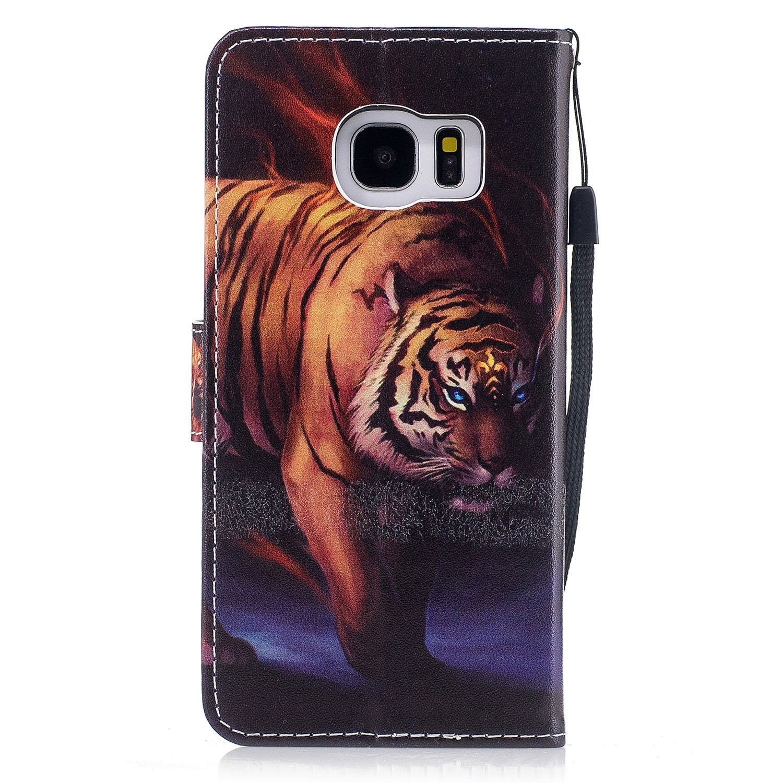 Etsue Kompatibel mit Samsung Galaxy S7 Edge Leder Tasche Klapph/ülle Bunt Muster Lederh/ülle Leder Flip H/ülle Schutzh/ülle Handytasche Brieftasche H/ülle Ledertasche Handyh/ülle Wallet Cover,Tiger