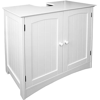 Anaterra Waschbeckenunterschrank weiß, Bad-Unterschrank, (B/H/T) 60 x 60 x  30 cm, Verstellbarer Einlegeboden & Siphon Aussparung - perfekt für ...