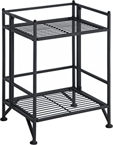Convenience Concepts 8020B Designs2Go X-Tra Storage 2-Tier Folding Metal Shelf, Black