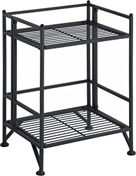 Convenience Concepts 8020B Designs2Go X-Tra Storage 2-Tier Folding Metal Shelf Black