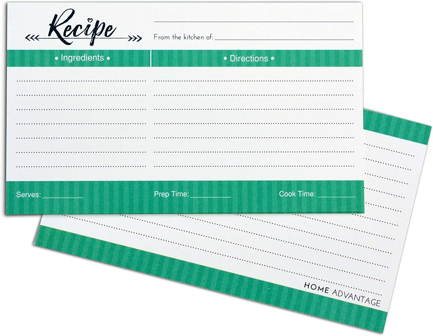 Home Advantage 3x5 Double Sided Recipe Cards (50, Mint)