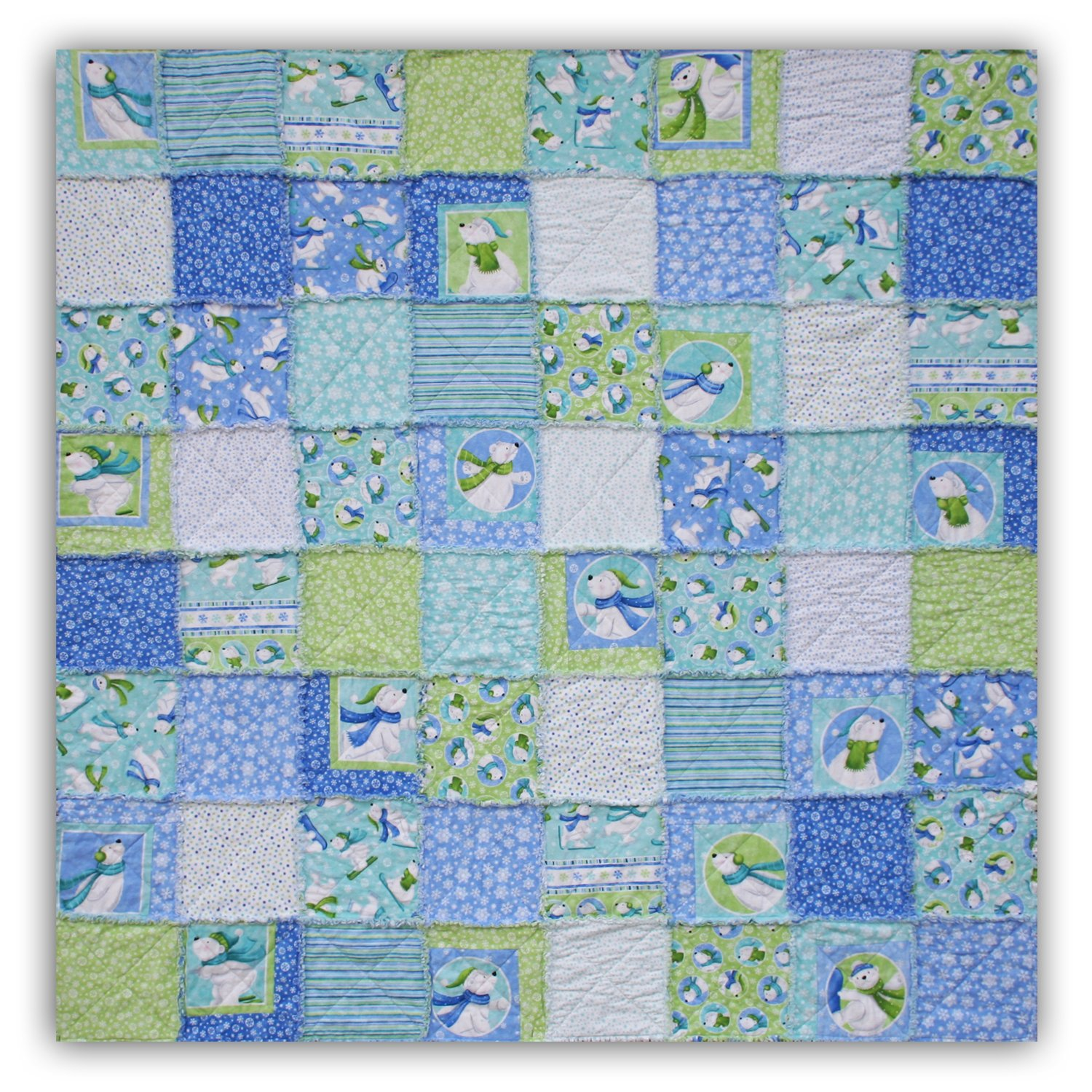 Easy Quilt Kit - Exclusive Snow Polar Bears Flannel Snuggler ''Rag'' Quilt - Black Friday Savings Now!