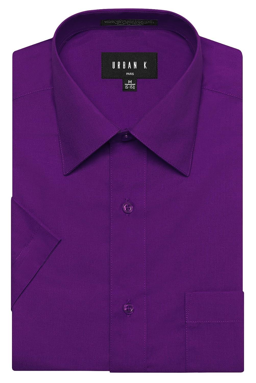 URBAN K メンズMクラシック フィット ソリッドフォーマル襟 半袖ドレスシャツ レギュラー & 大きいサイズ B06WVFH7LP  Ubk_purple 4L