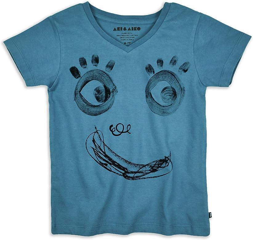 AKI & AIKO Algodón Organica Camiseta Cuello de Pico Sonrisa (2 ANS ...