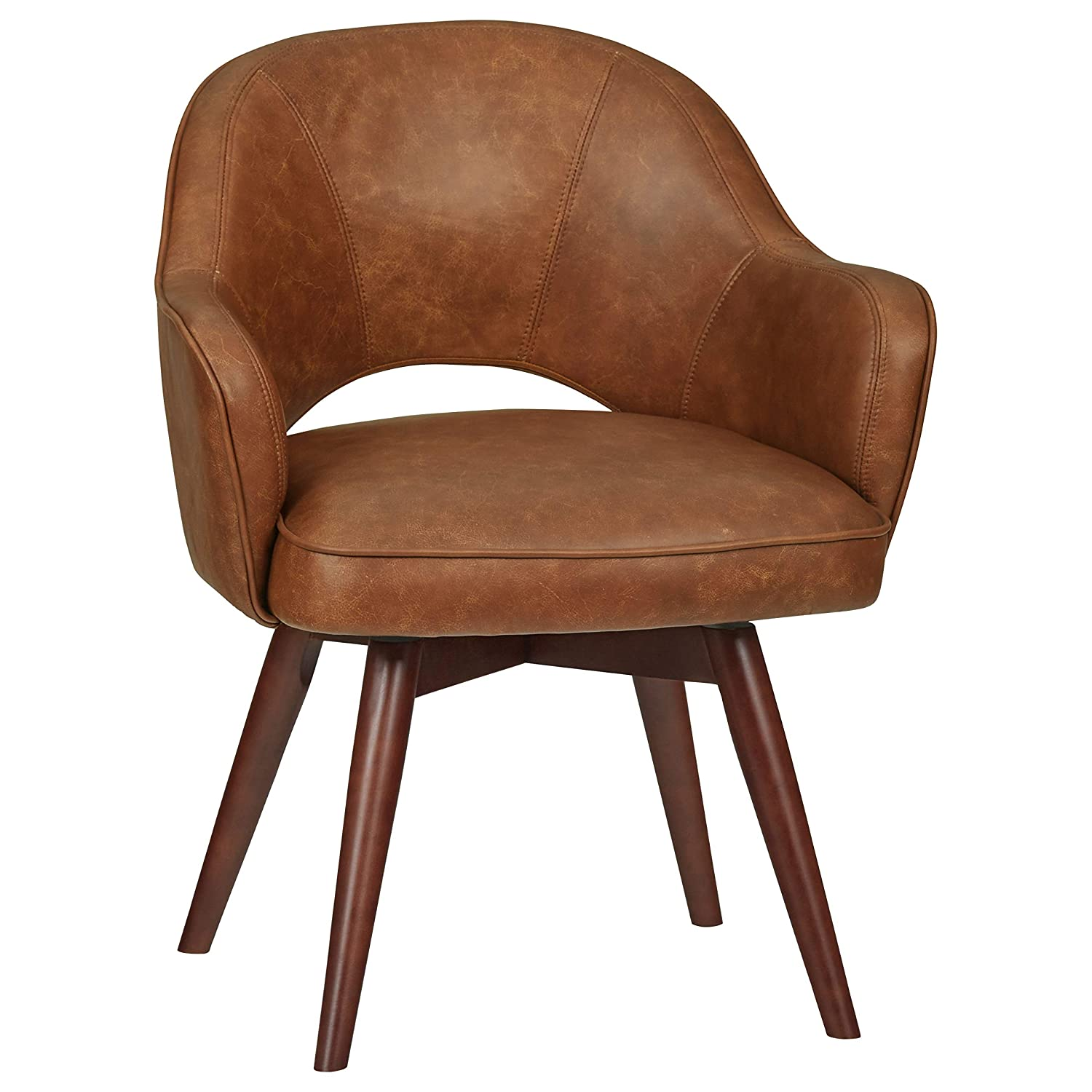 "Rivet Mid-Century Leather Swivel Chair, 23.6""W, Brown"