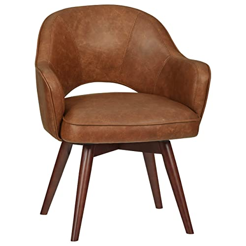 Rivet Mid-Century Leather Swivel Chair, 23.6 W, Brown