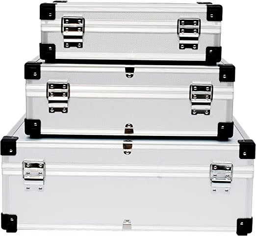 schwarz 3-in-1 Alukoffer Aluminium Rahmen Koffer Allround Werkzeugkoffer-Set