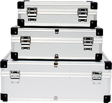 lars360 3 en 1 de plata maleta de aluminio caja de transporte Caja de aluminio caja de herramientas Alubox maletín de herramientas Almacenamiento Caja 3 Tamaño: Amazon.es: Bricolaje y herramientas