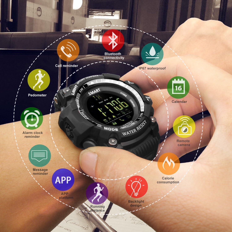 Call Message Reminder Bluetooth Smart Sportuhr wasserdichte Uhr Outdoor Digitaluhr mit APP-Plattform Kamera-Fernbedienung Fitness Tracker Kalender Alarm etc. Schrittz/ähler