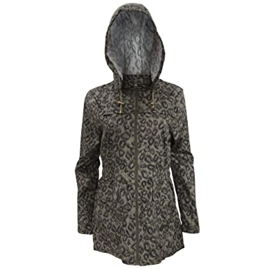 0fb435c51f6f Brave Soul Womens Ladies Khaki Leopard Print Showerproof Full Zip Jacket  (8) (Green)  Amazon.co.uk  Clothing