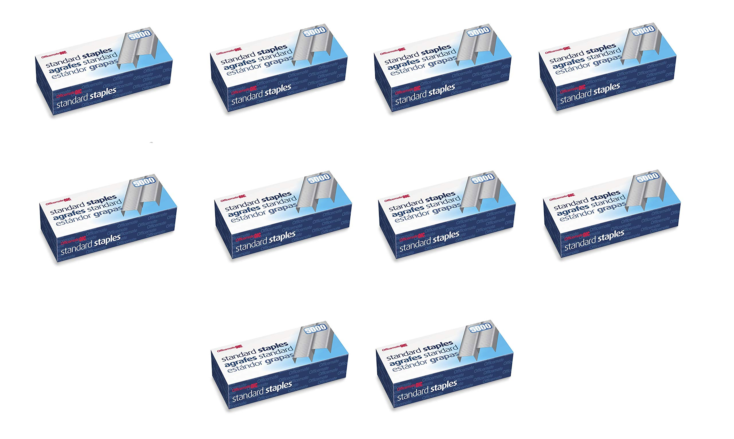 Officemate Standard Staples, 210 per strip, 20 Sheets Capacity, 5,000 per Box, Sold as 10 Pack (91900) by Officemate
