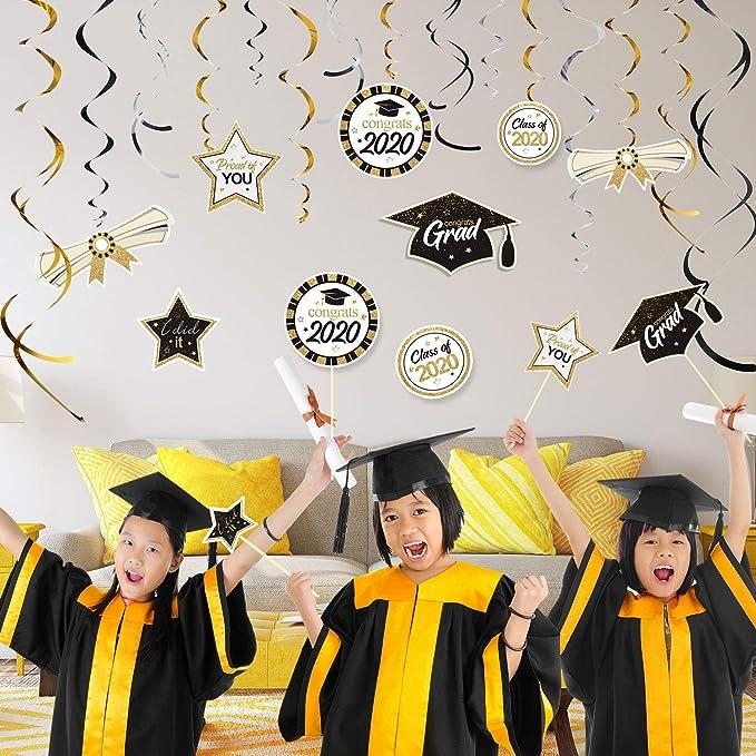 Abschlussfeier Dekorationen Kit H/ängende Strudel Ornament Folie Wirbel Party Decken Dekorationen 2020 Abschluss Thema Party Dekor f/ür Abschluss H/ängende Dekorationen Abschluss Party Zubeh/ör