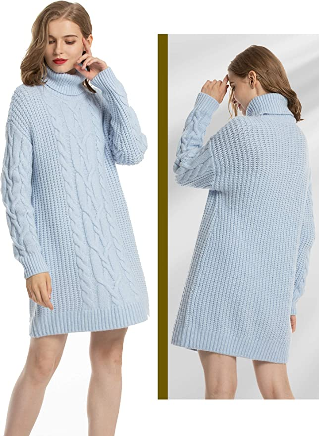 MessBebe Women's Cable Knit Turtleneck Sweater Dresses Long Sleeve Chunky Pullover Sweaters for Women Oversized Winter Dress