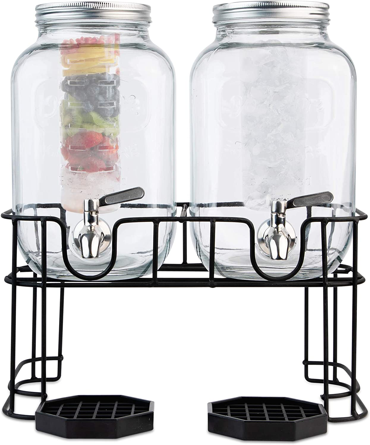Dual Gallon Glass Beverage Dispensers with 2 Sets of Fruit & Ice Infuser Inserts - Metal Stand, Stainless Steel Spigot, Metal Lids and Drip Trays Yorkshire Mason Dual Drink Dispenser Display