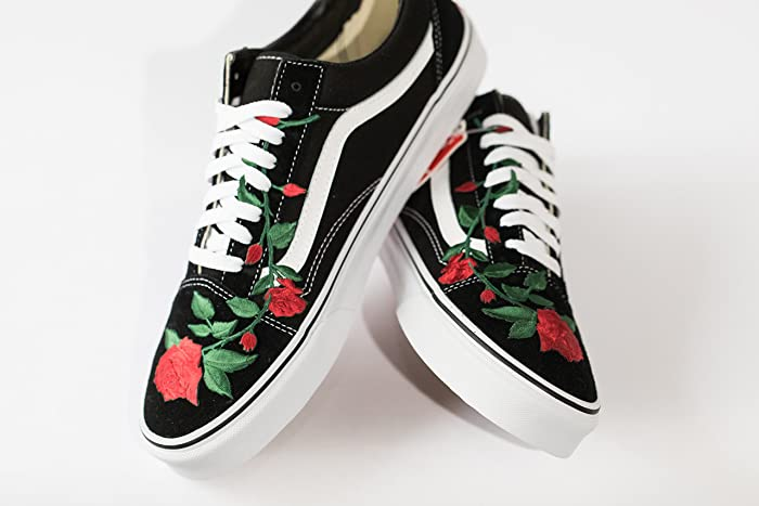 7418d1ea Amazon.com: Vans SK8-Low Custom Rose Embroidered Vans Floral Edition ...