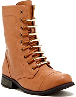 CA Collection Womens Fashion Hardware-Accented Combat Boots