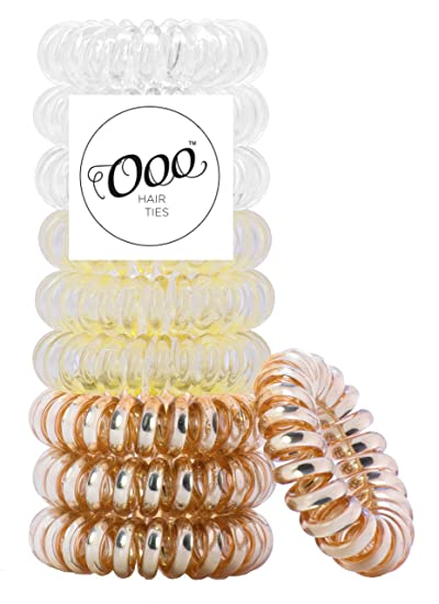 10 pack Twist Swirl PATENTED OOO Hair Ties. Ponytail holder spiral coil  traceless gentle rubber bf0b61a8419