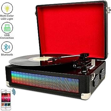 DIGITNOW Tocadiscos Bluetooth LED Multicolor para Vinly con ...