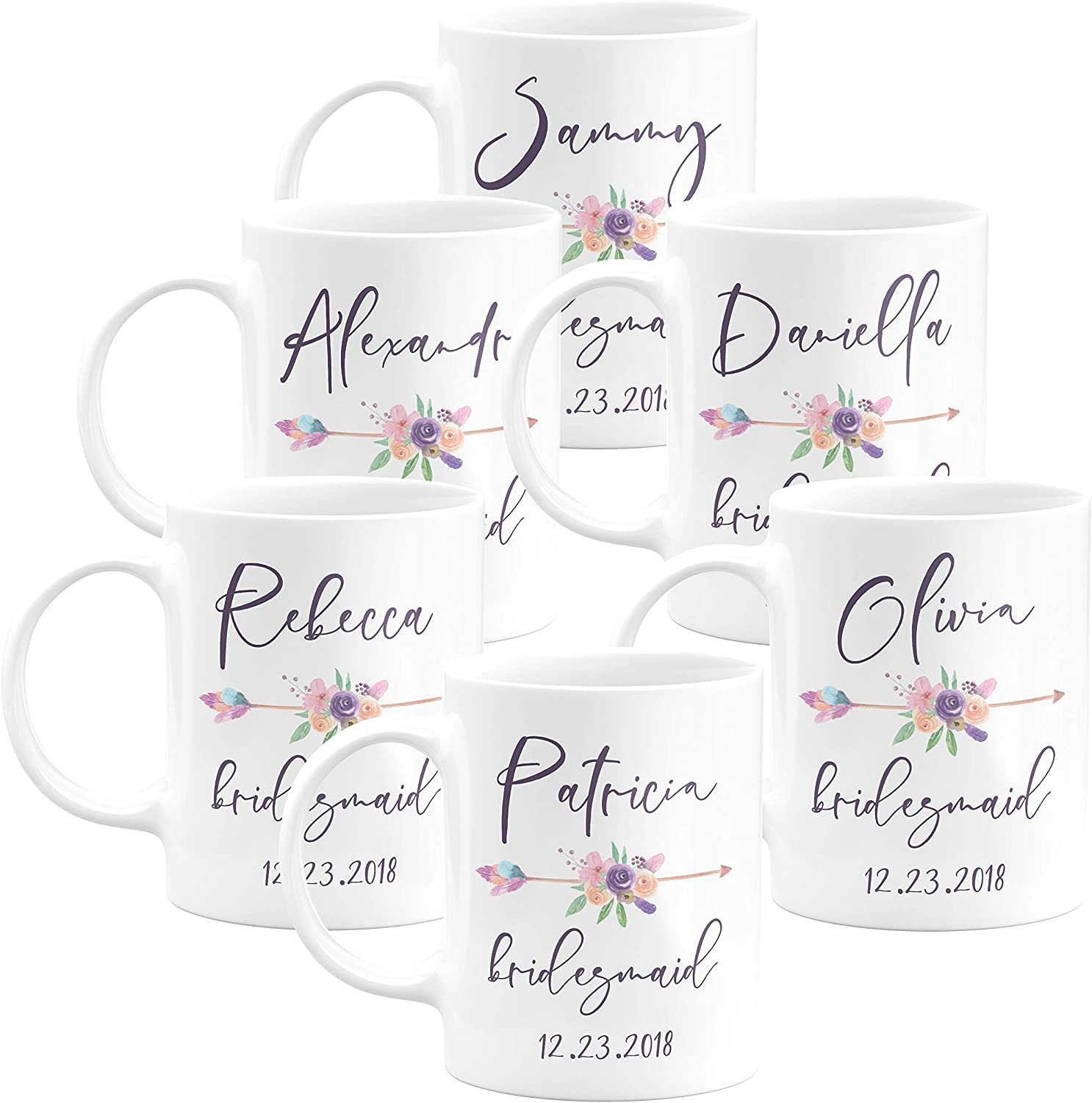personalized bridesmaid coffee mug set