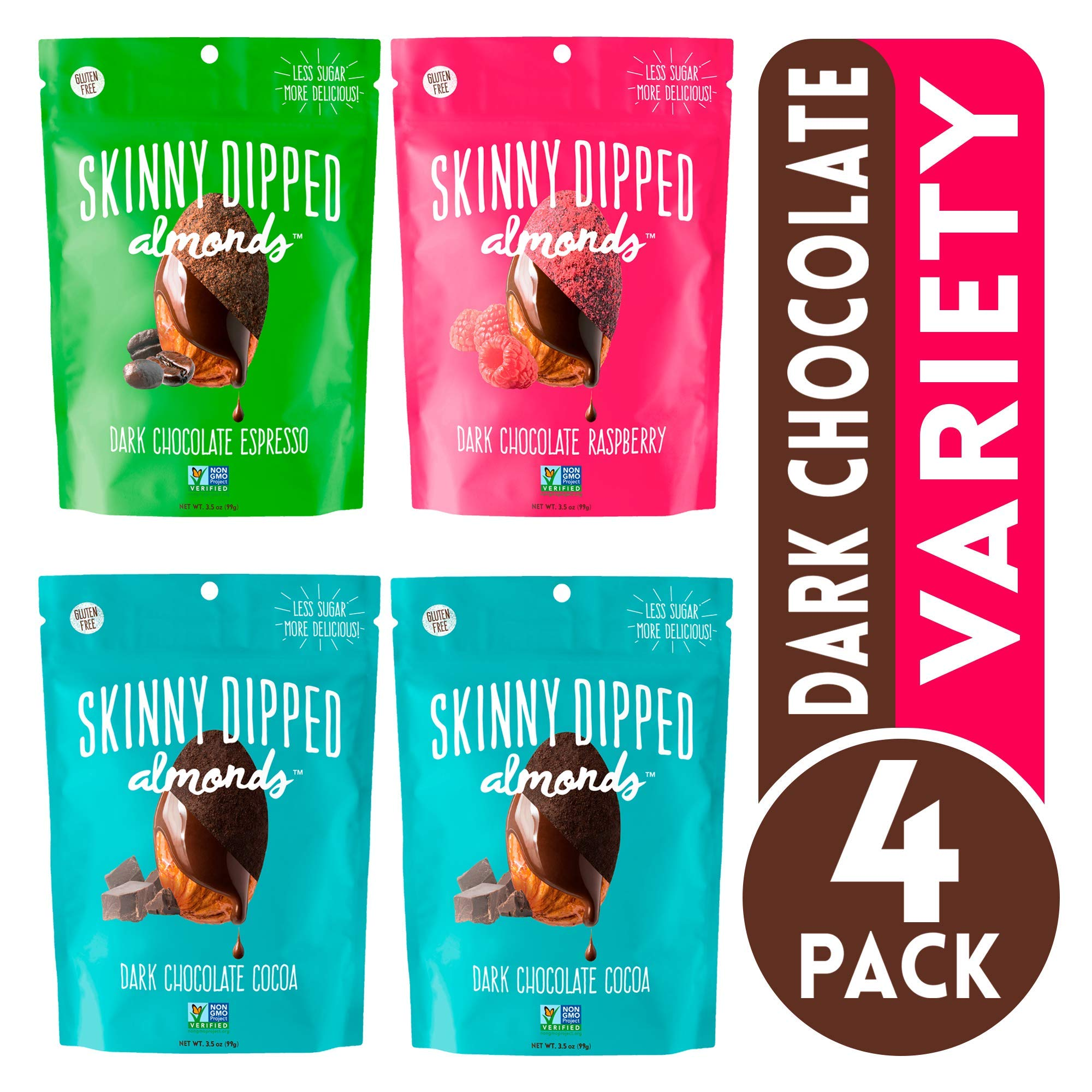 Skinny Dipped Almonds Dark Chocolate Covered Almonds, Pack of 4, Variety Pack of Cocoa, Espresso, Raspberry, Gluten Free, Low Sugar Snacks, 3.5 oz Resealable Bags
