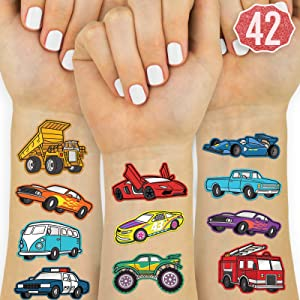 xo, Fetti Cars and Trucks Temporary Tattoos for Kids - 42 Glitter style | Birthday Party Supplies, Race Car Party Favors + Construction Decor