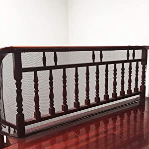 Stairway Net - Baby Safety Rail - 10ft L x 2.5ft H - Banister Stair Net for Child, Small pet,Toy- Indoor & Outdoor(Brown)