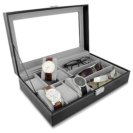 Grinscard Estuche Combi para Relojes y Gafas - Negro, Aproximadamente 33 x 20 x 8 cm - Gafas de Sol y Estuche para presentación de Relojes