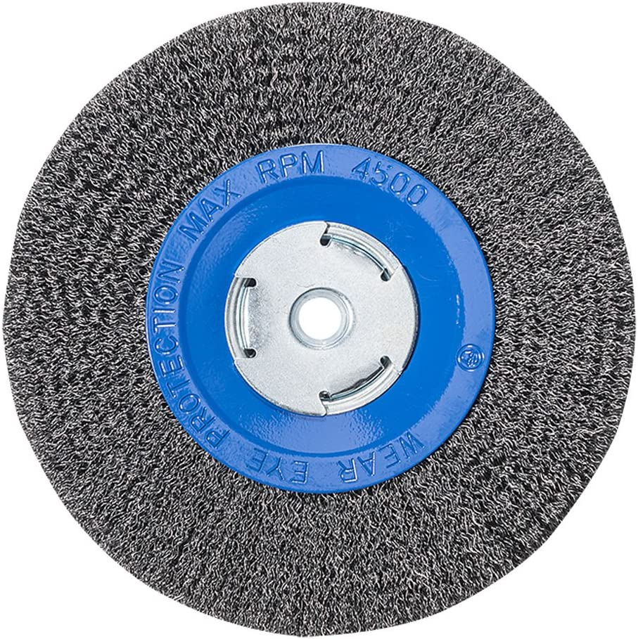 """Mercer Industries 183020 Crimped Wire Wheel, 8"""" x 3/4"""" x 2"""" (1/2"""", 5/8""""), For Bench/Pedestal Grinders"""
