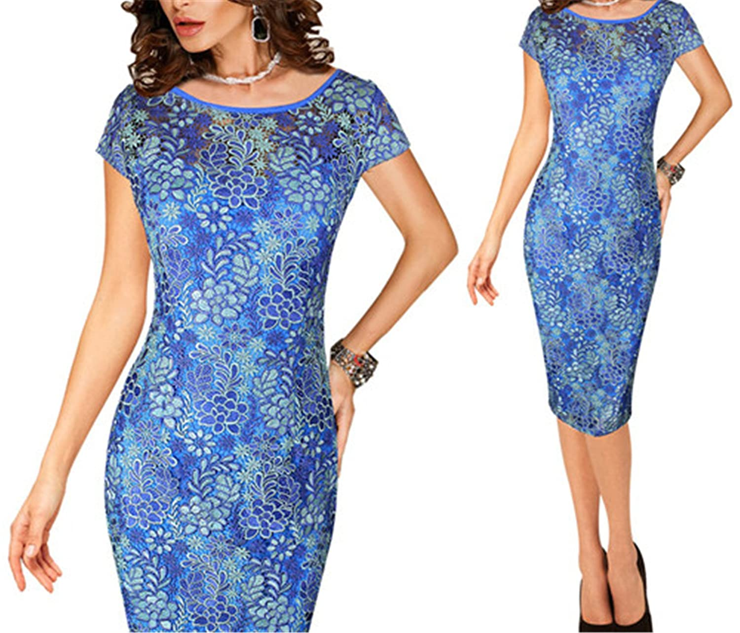 bluee and Beige Ivan Johns Dresses Elegant Sexy Crochet Hollow Out Pinup Party Evening Special Occasion Sheath Fitted Vestidos Dress 4272