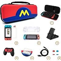Sanbee Estuche de Nintendo Switch Kit de Accesorios 8en1, Funda de Viaje, 2 Protector de Pantalla Vidrio, Carcasa Transparente, Soporte Multi-Angulo, Empuñadura para Joy-Con, Estuche Tarjetas, Cable