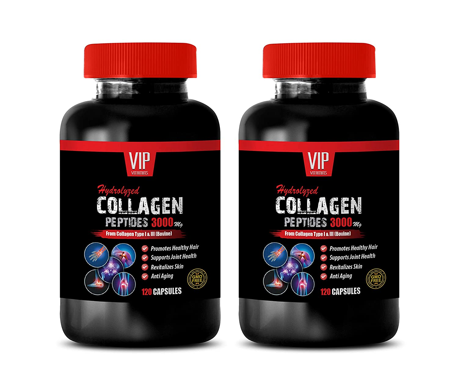 Hair Skin and Nails Vitamins - Hair Supplement - HYDROLYZED Collagen PEPTIDES 3000MG - Collagen Complex - 2 Bottles (240 Capsules)