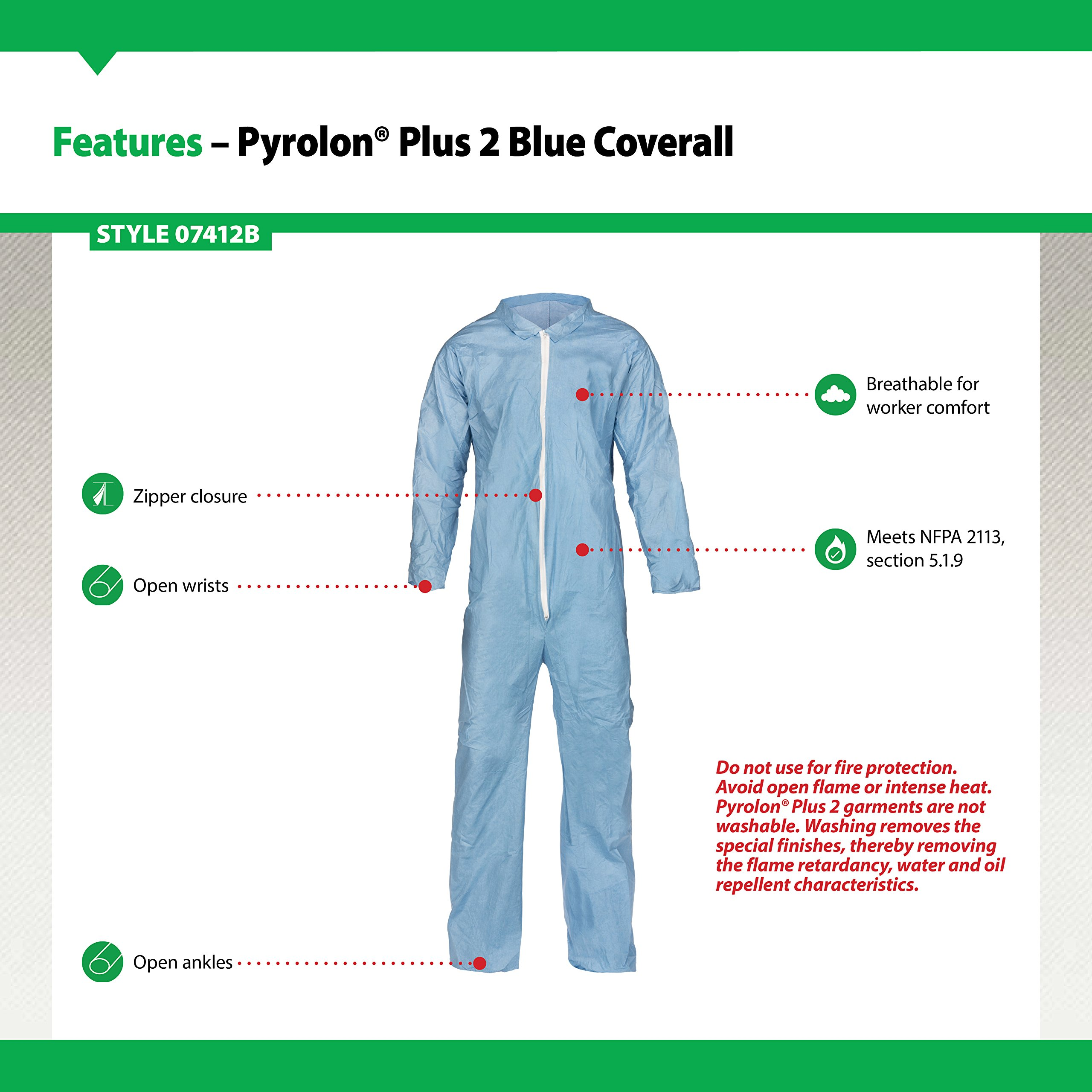 Lakeland Pyrolon Plus 2 Flame-Resistant Coverall, Disposable, Open Cuff, 4X-Large, Blue (Case of 25) by Lakeland Industries Inc (Image #3)