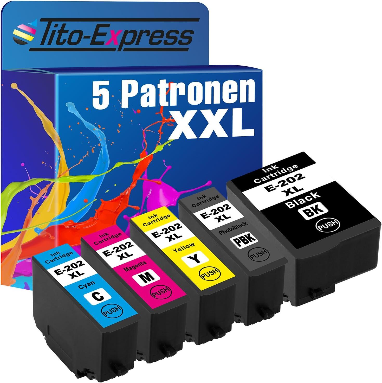 Tito Express Platinumserie 5x Tinten Patrone Xxl Passend Zu Epson 202xl 202 Xl Kompatibel Mit Expression Premium Xp 6000 Xp6000 6005 Xp6005 6100 Xp6100 6105 Xp6105 Black 16ml Color Je 10ml Bürobedarf Schreibwaren