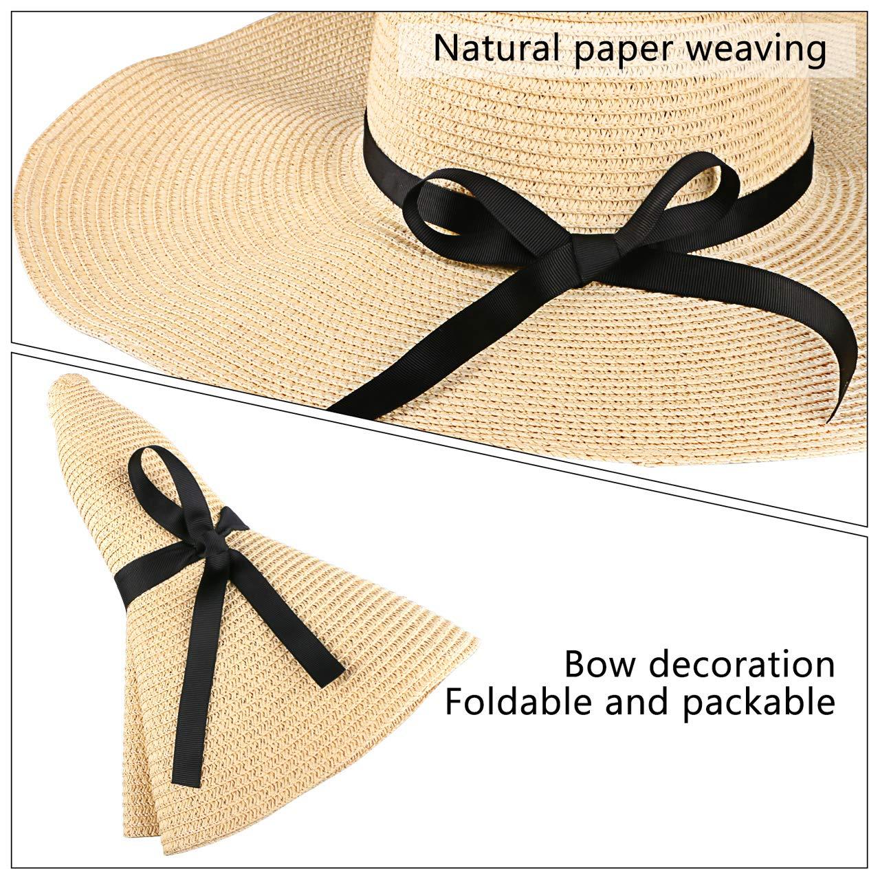 UPF 30 Tencoz Sombrero de Paja para Mujer Sombrero de Verano de Paja Plegable Ajustable Sombrero de Vacaciones ala Ancha 5.90 /″