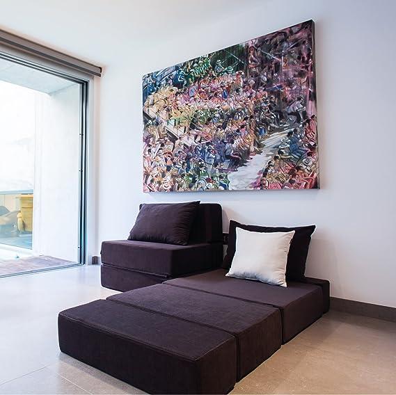 MiPuf - Sofá Puf Cama Plegable - 190x80x20 cm - Tejido para Exterior ignifugo - Doble Costura - Interior Foam Alta Densidad - Nautico Blanco - 4 años de Garantía: Amazon.es: Jardín