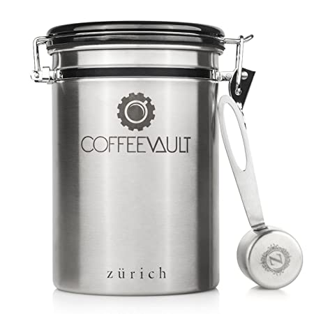 Coffee Vault Premium Coffee Canister Airtight - Large Stainless Steel Coffee Container by Zurich for 500g  sc 1 st  Amazon UK & Coffee Vault Premium Coffee Canister Airtight - Large Stainless ...