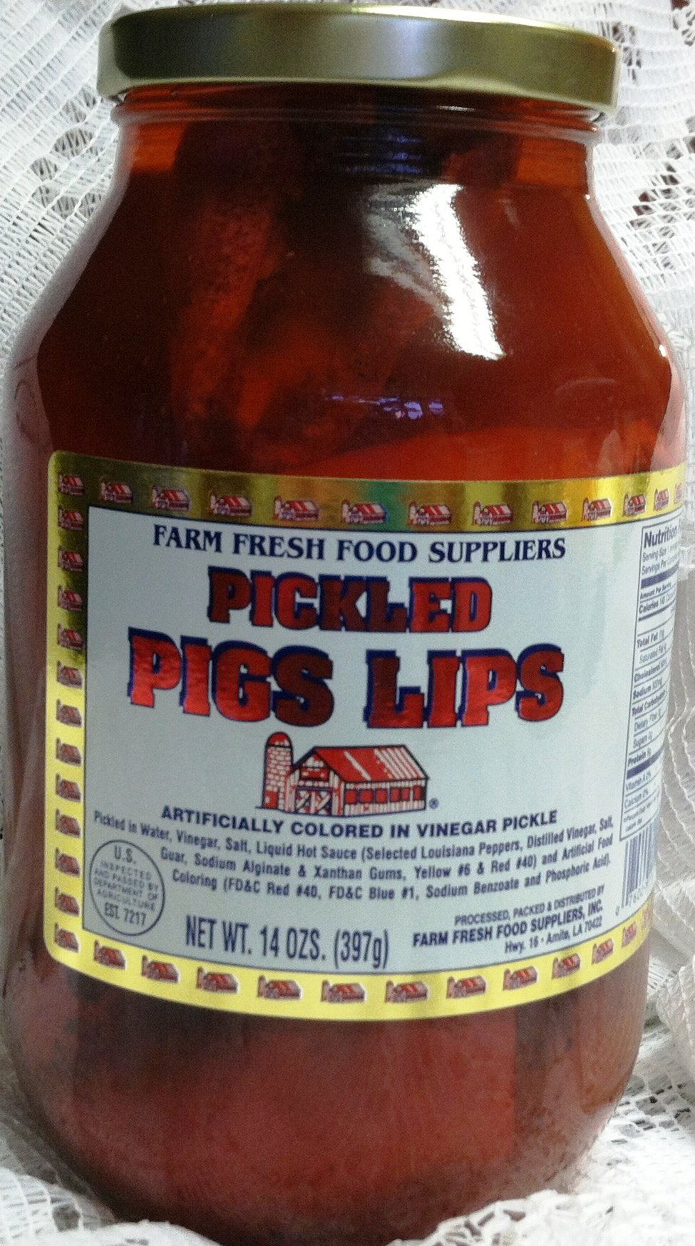 Pickeld Pigs Lips 14 Oz. In a Glass Quart Container by Farm Fresh Food Suppliers