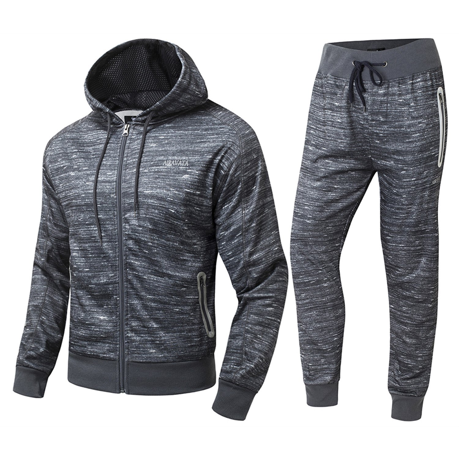 FZDX Men's Casual Athletic Sport Workout Hooded Zipper Tracksuit Sweat Set