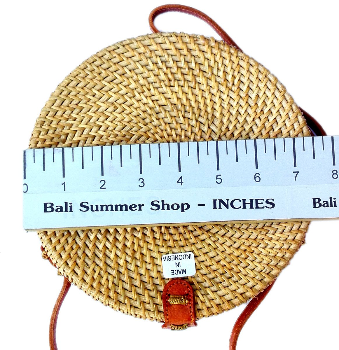Bali Rattan - Handwoven Round Rattan Bag (Plain Weave Leather Closure) by Bali Rattan (Image #3)