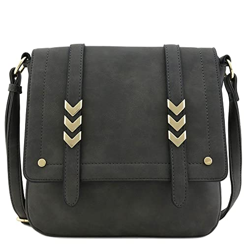 Double Compartment Large Flapover Crossbody Bag (Charcoal Grey) best stylish purses for fall
